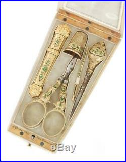 Superb Antique French Hand Carved Mother Of Pearl Solid Gold Enamel Sewing Set