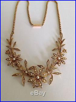 Superb Antique Victorian 15ct Gold Natural Seed Pearl Set Floral Necklace