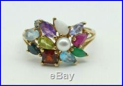 Superb Gold Gemstone Dress Ring set with Emerald, Topaz, Ruby Garnet Pearl etc