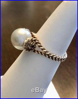 Superb Vtg Mikimoto 8mm Akoya Pearl In RARE Twisted Rope 14k YG Setting Sz 6