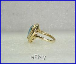 TEAR DROP OPAL DOUBLET RING With3 DIAMONDS SET IN 14K YELLOW GOLD SZ 5.25 NG51-Q