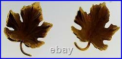 TIFFANY & CO. Vintage Solid 14K GoldMaple Leaf Earrings+Brooch / Pin Set1950's