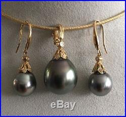 Tahiti Perlen Ohrringe-Anhänger Set 14k /585 Gold mit Diamanten