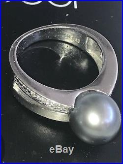 Tahitit Zuchtperle Auf Ring 585/750 Weissgold Diamanten Set Anhänger Ohrringe