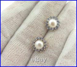 Tanzanite & Pearl 14k Yellow Gold Ring & Halo Flower Stud Earring Jacket Set