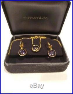 Tiffany & Co. 18K Yellow Gold Amethyst Olive Leaf Drop Earrings & Necklcace Set