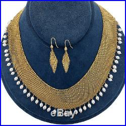 Tiffany & Co. Elsa Peretti 18 Karat Yellow Gold Mesh Earring Necklace Set Pearl
