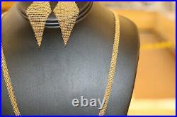Tiffany & Co. Elsa Peretti Mesh Necklace & Pearl Earring Set Vintage 18K Gold