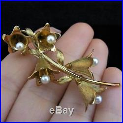 Tiffany & Co Vintage Lily of The Valley 18k Yellow Gold Pearl Brooch Large