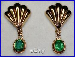 Uk Vintage Hallmarked 9ct Gold Naturally Mined Emerald Set Drop Pendant Earrings