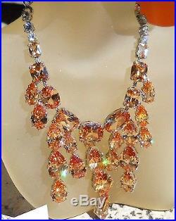 Valentine's Topaz Swarovski Crystal Set Rhodium Italy Francisca Majorca Pearls