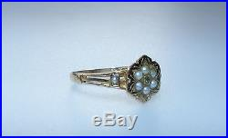VICTORIAN PRETTY 18ct. ROSE GOLD PEARL & DIAMOND SET FLOWER CLUSTER RING (1877)