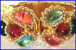 VTG 1972 DELILLO Bracelet/ Earring Set Seed Pearl/ Glass Cabochons/ Gold Metal