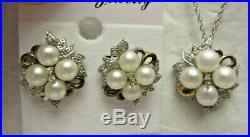 VTG AV 14K Gold & Sterling Silver Pearl Necklace & Earrings Set by Alwand Vahan