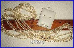 Vtg Bride14k Yellow Gold Seed Pearl 5 Strand Twist Toursade Necklace Earring Set