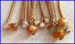 VTG Juliana For Hobe Gold Mesh Rhinestone Pearl Glass Necklace Earrings Set