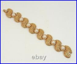 VTG TRIFARI Faux Pearl Textured Gold-Tone Swirl Necklace Bracelet Clip Earrings