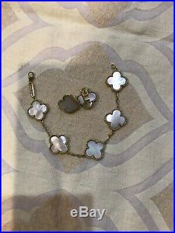 Van Cleef Arpels White Pearl Alhambra Bracelet And Earrings Set
