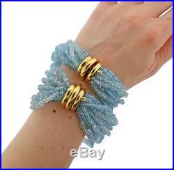 Verdura Aquamarine Bead Gold Bracelet Set