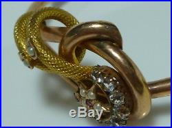 Victorian 10k 14k Pearl Ruby Gold Bangle Bracelet Earrings Set Crescent Moon