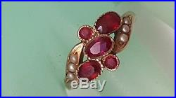 Victorian 10k Yellow Gold Bezel Set 2.00carats Genuine Ruby's & Seed Pearl Ring