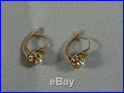 Victorian 18ct Rose Gold Old Diamond and Pearl Earings, Crown Setting, Leverback