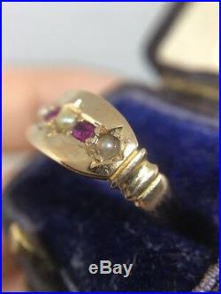 Victorian Antique Yellow Gold 15ct Ruby And Pearl Set Pretty Ring