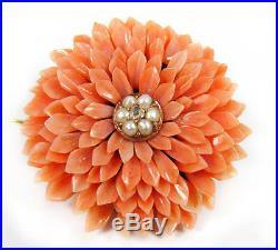 Victorian Coral Pearl Gold Demi-Parure