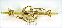 Victorian Crescent Moon & Star Pearl set 15ct Yellow Gold Trefoil Brooch