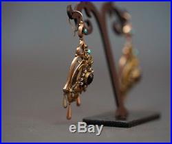Victorian Demi-parure Garnet Turquoise Pearls Bird Silver Gold plated Box