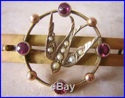 Victorian Gold Swallow Brooch Pin Set With Rubies & Pearls Sentimental Jewellery