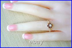 Victorian Natural Pearl Ring 14k Yellow Gold Flower Setting Size 5.5