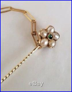 Victorian Yellow Gold stick Pins. Collet set with a central Emerald & Seed Pearls