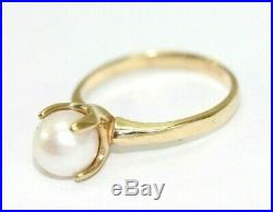 Vintage 10K YELLOW GOLD, PEARL, 4-Prong Setting Womens Ring Size 6, 2.4 Grams