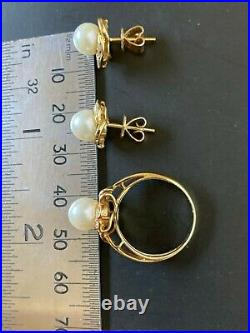 Vintage 14K Gold 8mm Cultured Pearl and Diamond Ring and Earrings Set Size 5.75