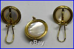 Vintage 14K Solid Gold Mabe/Blister Pearl Earrings and Pendant Set