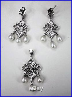Vintage 14K White Gold Earrings Pendant Set Diamonds Dangling Pearls Signed ADPG