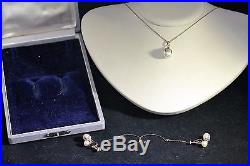 Vintage 14K Yellow Gold Mikimoto Pearl Earring & Necklace Matching Set