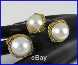 Vintage 14K Yellow Gold Twisted Rope & Large Pearl Chunky Set Ring&Clip Earrings