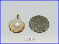Vintage 14k 585 Yellow Gold Bezel Setting Mabe Pearl Pendant