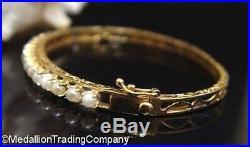 Vintage 14k Gold 3mm White Pearl Prong Set Oval Bangle Bracelet Etched Filigree