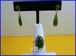 Vintage 14k Yellow Gold Oval Jade Ring & Tear Drop Dangle Pierced Earring Set