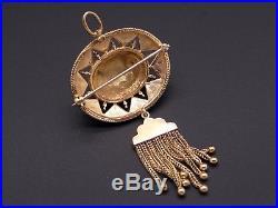 Vintage 14k Yellow Gold Pearl Blue Enamel Dangle Drop Earrings Brooch Pin Set