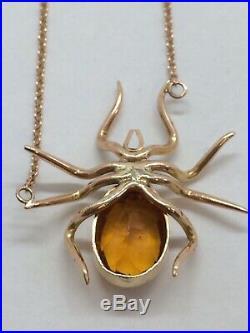 Vintage 9ct Rose Gold Citrine & Pearl Set Spider Necklace
