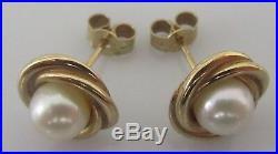 Vintage 9ct yellow gold pearl swirl setting earrings for pierced ears