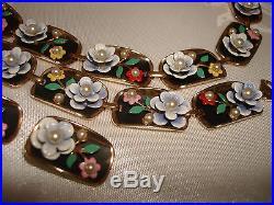 Vintage Alice Set Gold Tone Necklace Multi Color Enamel Bracelet Earrings Clip