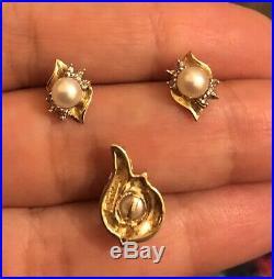 Vintage Antique 9ct Yellow Gold Diamond Fresh Pearl Earrings Pendant Set