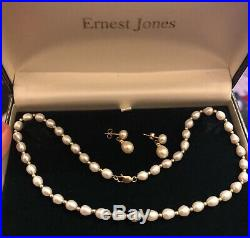 Vintage Antique 9ct Yellow Gold Pearls Necklace Earrings Set Dangle Drop