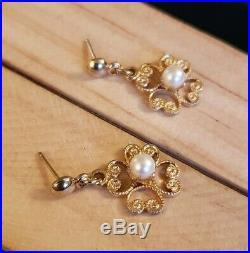 Vintage Antique Filigree 14k Yellow Gold Prong Set Pearl Dangle Earrings