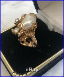 Vintage Baroque Pearl Diamond Branch Setting 14k Solid Gold Kocek Designer Ring